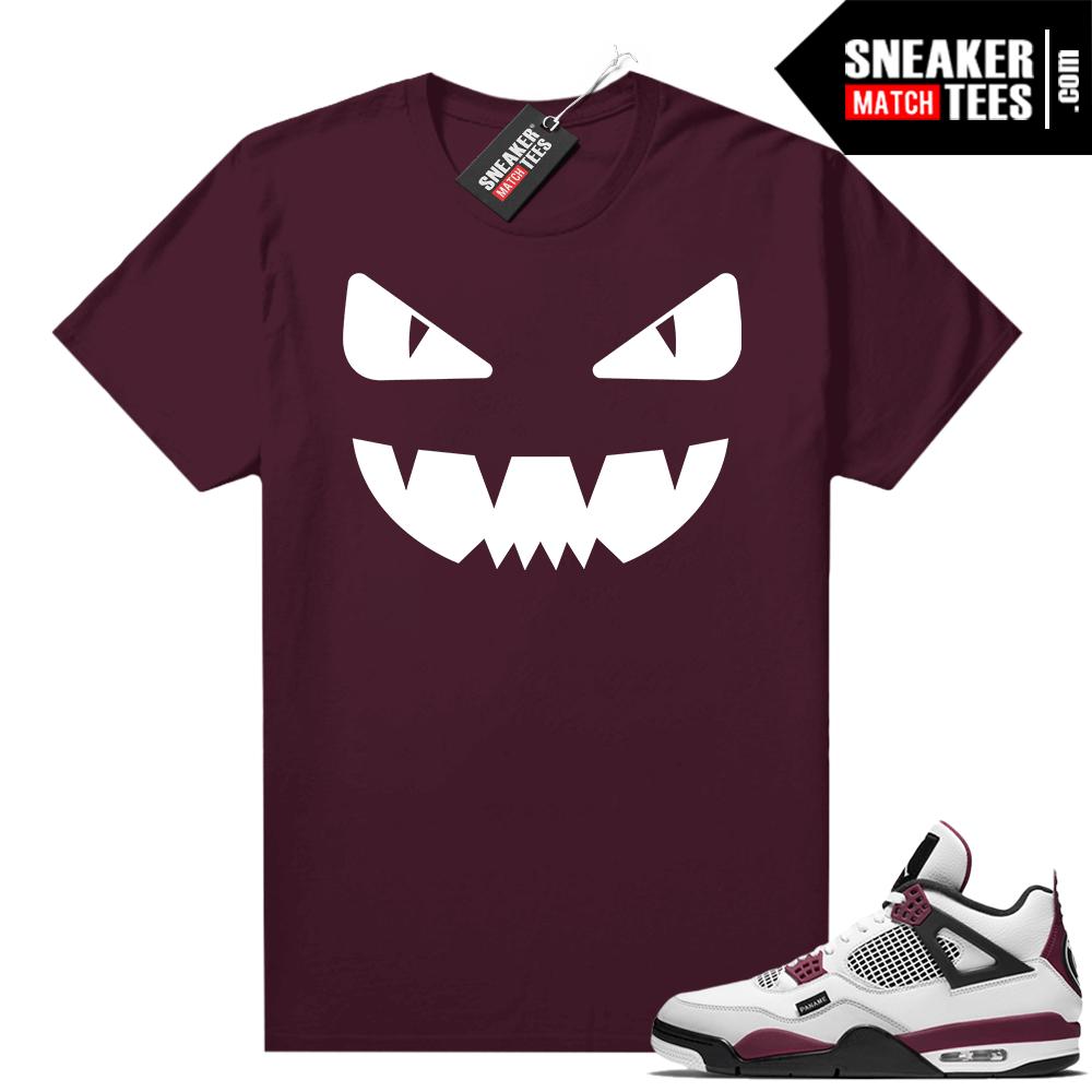 PSG 4s Sneaker Match Tees Designer Monster Maroon