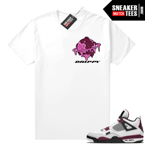 PSG 4s Sneaker Match Tees Drippy Planet White