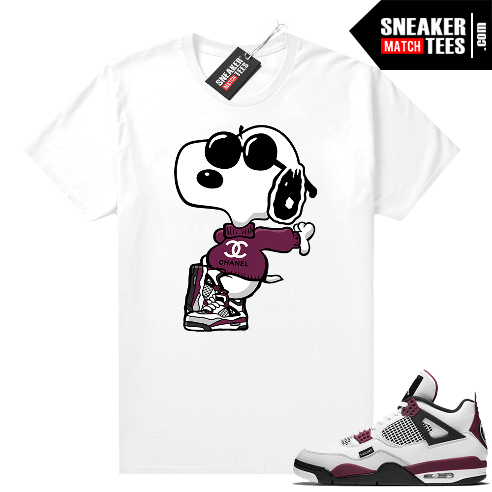 PSG 4s Sneaker Match Tees Fly Snoopy White