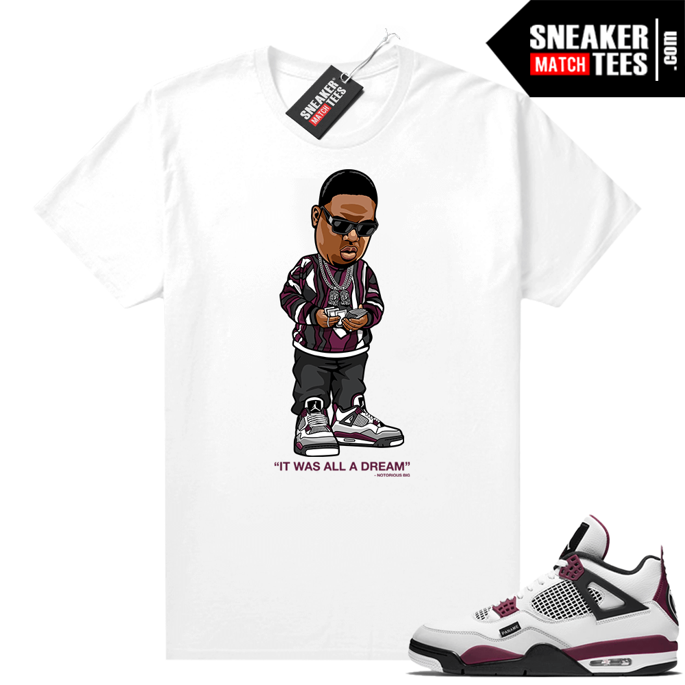 PSG 4s Sneaker Match Tees It Was All A Dream White