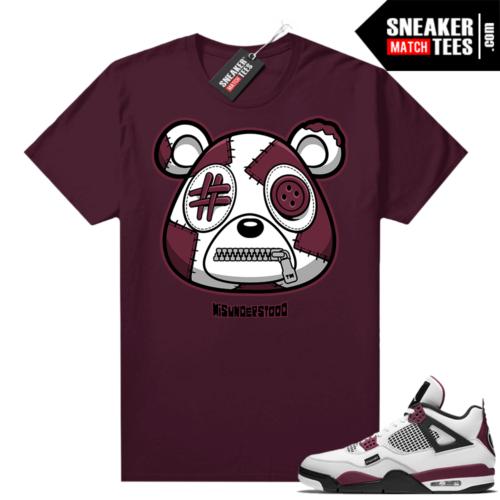 PSG 4s Sneaker Match Tees Misunderstood Bear Maroon