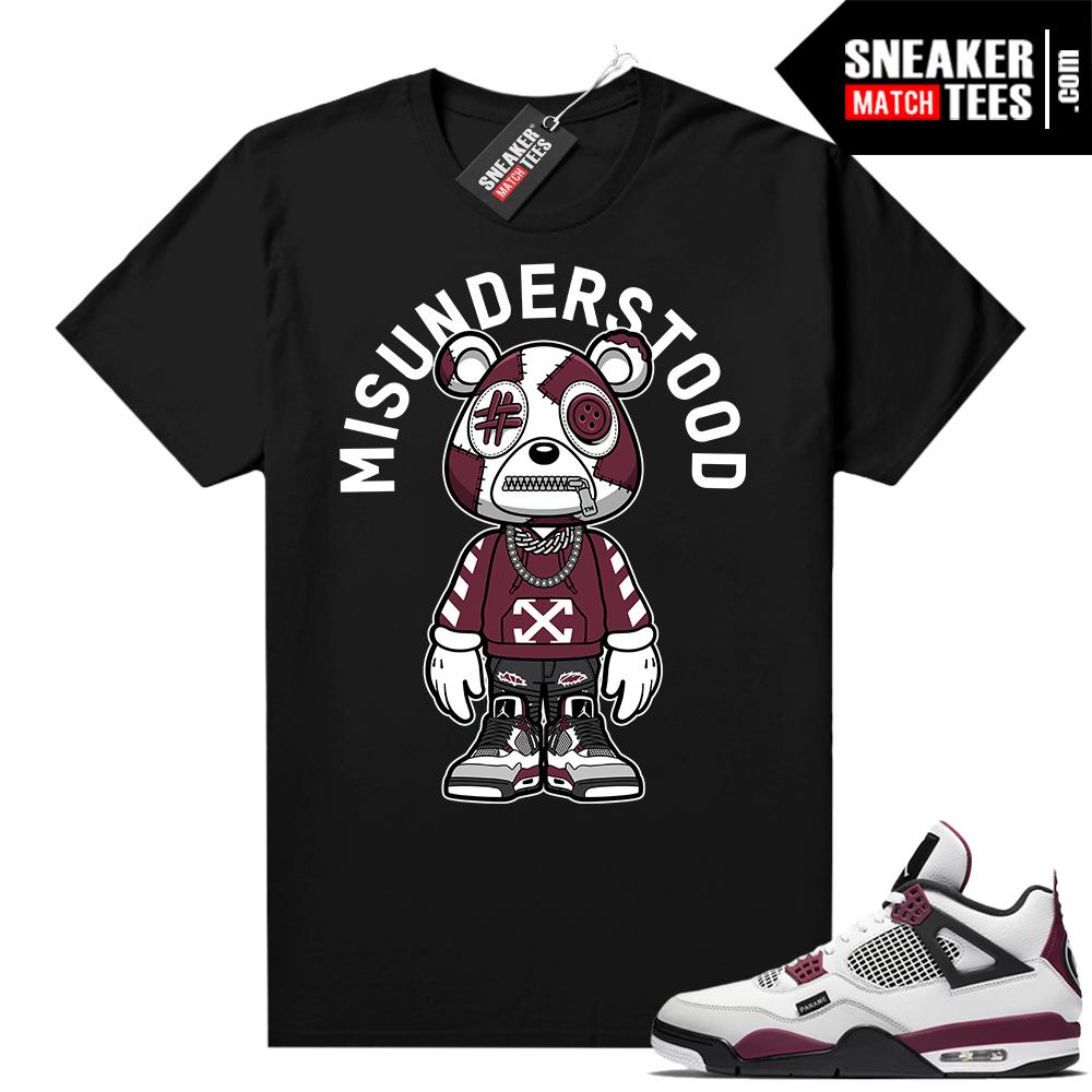 PSG 4s - Sneaker Match Tees - Misunderstood Bear Toon - Black