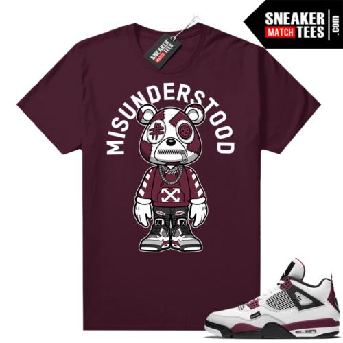 PSG 4s - Sneaker Match Tees - Misunderstood Bear Toon - Maroon