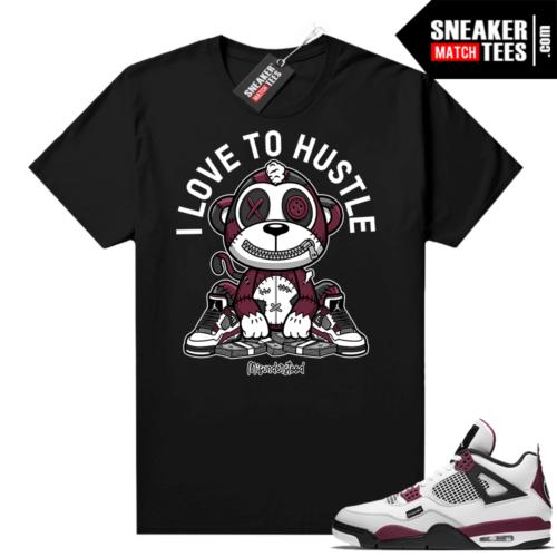PSG 4s Sneaker Match Tees Misunderstood Monkey I Love to Hustle Black