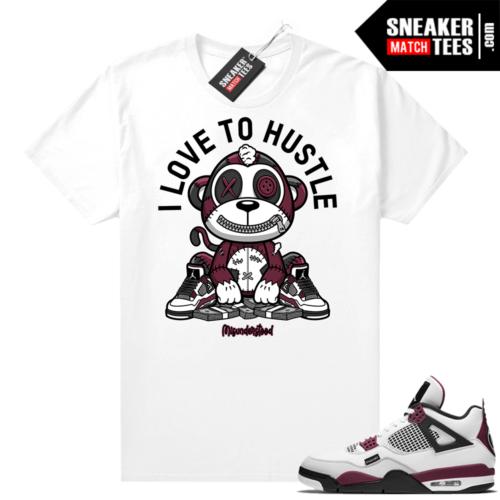 PSG 4s Sneaker Match Tees Misunderstood Monkey I Love to Hustle White