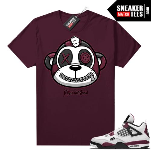 PSG 4s Sneaker Match Tees Misunderstood Monkey Maroon