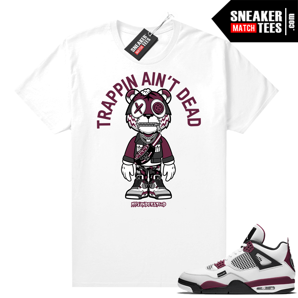 PSG 4s Sneaker Match Tees Misunderstood Tiger Toon Trappin Aint Dead White