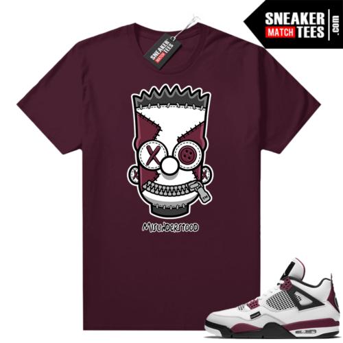 PSG 4s Sneaker Match Tees Misunderstood x Bart Maroon