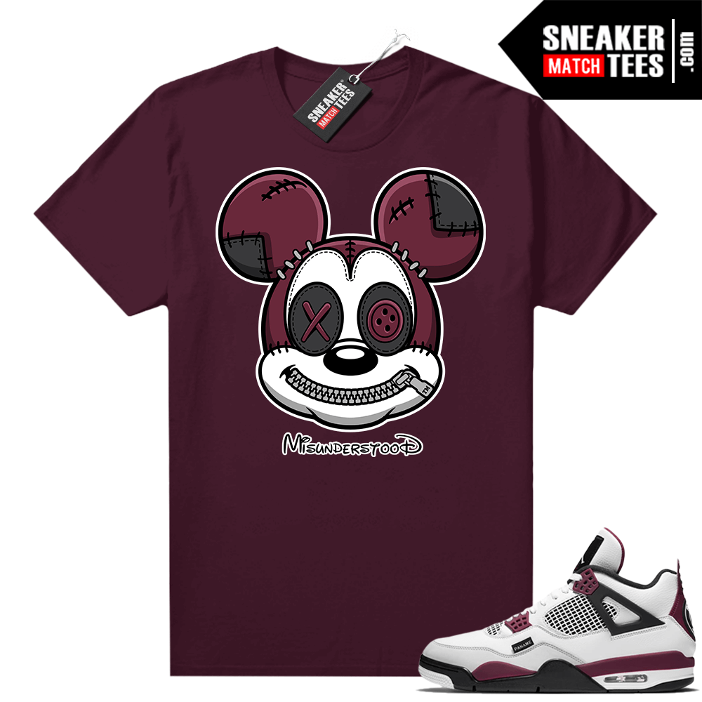 PSG 4s Sneaker Match Tees Misunderstood x Mickey Maroon