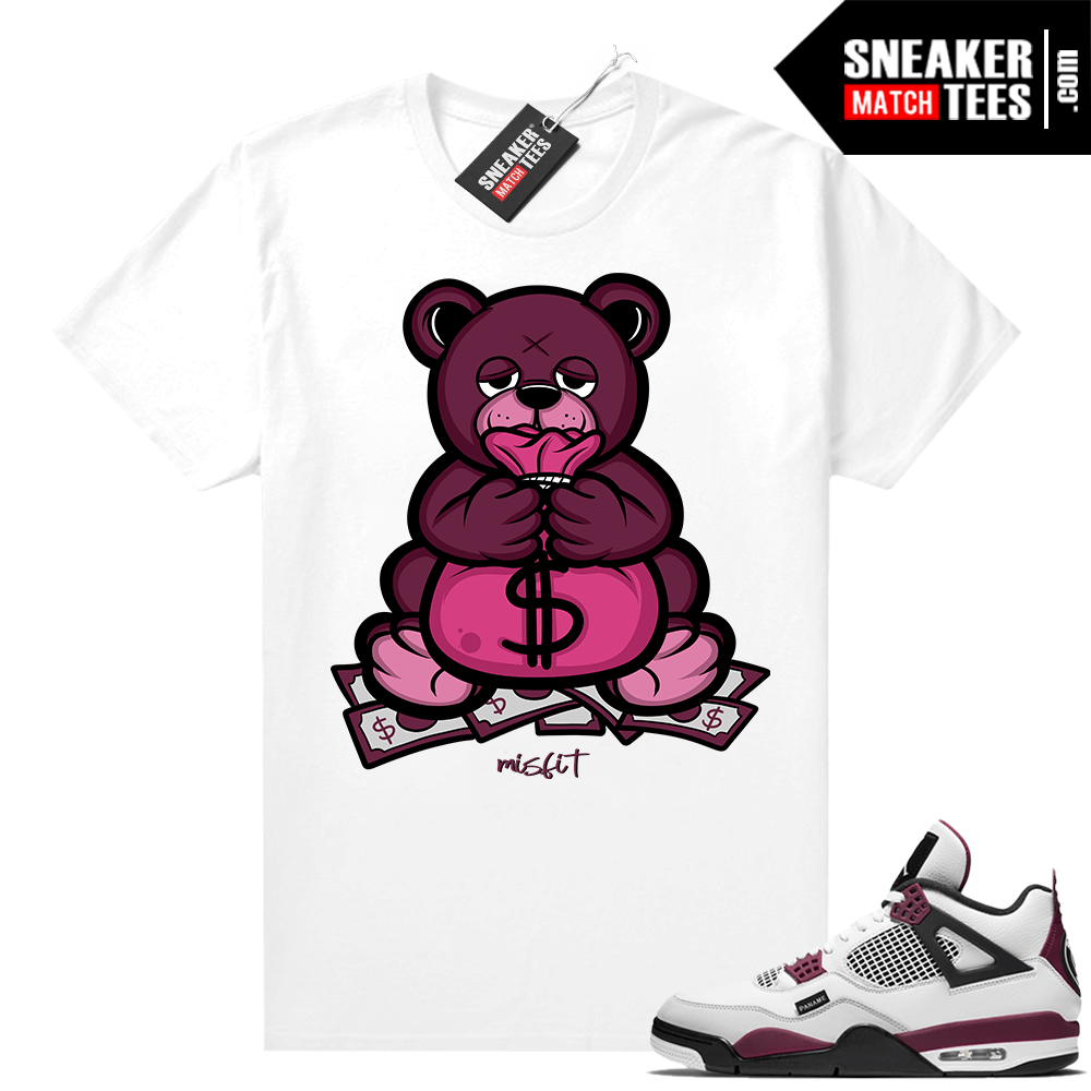 PSG 4s Sneaker Match Tees -Money Bag Bear White