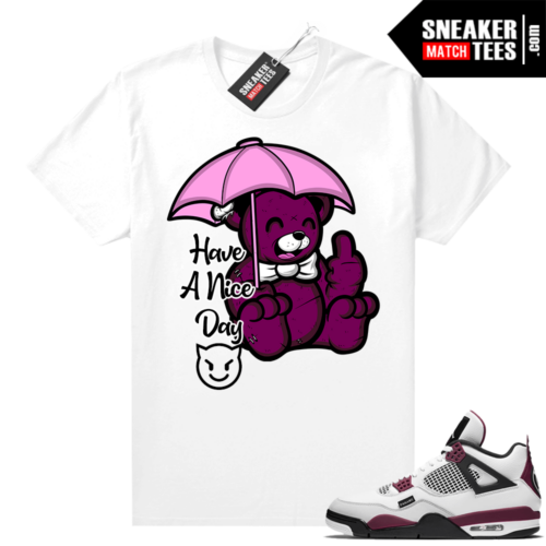 PSG 4s Sneaker Match Tees Nice Bear White