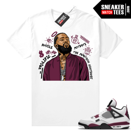 PSG 4s Sneaker Match Tees Nipsey Tribute White