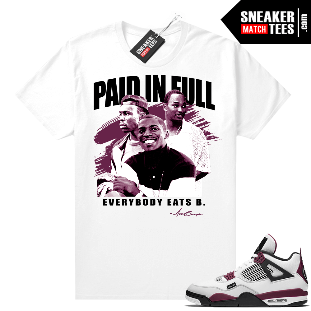 PSG 4s Sneaker Match Tees Paid In Full Vintage White