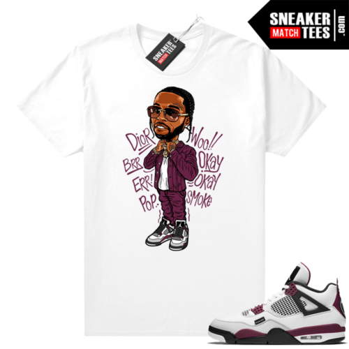 PSG 4s Sneaker Match Tees Pop Smoke Toon White