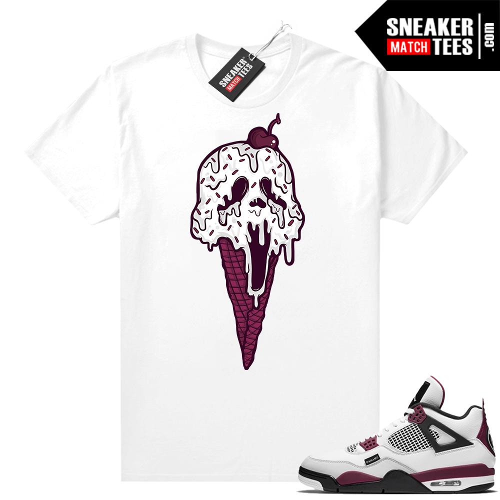 PSG 4s Sneaker Match Tees Scream Cone White