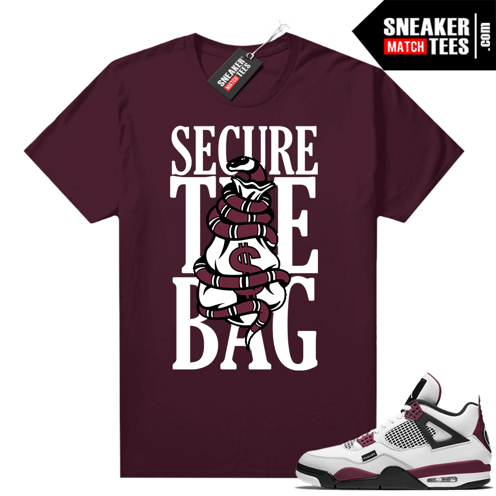 PSG 4s Sneaker Match Tees Secure the Bag Maroon
