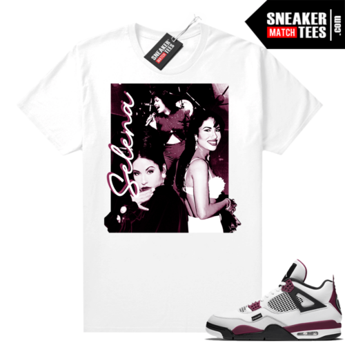 PSG 4s Sneaker Match Tees Selena Vintage White