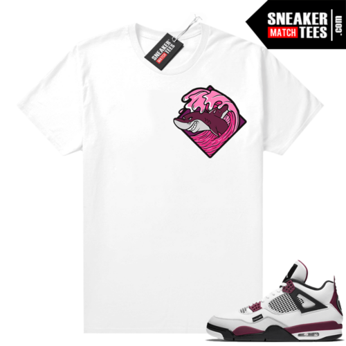 PSG 4s Sneaker Match Tees Shark Wave White