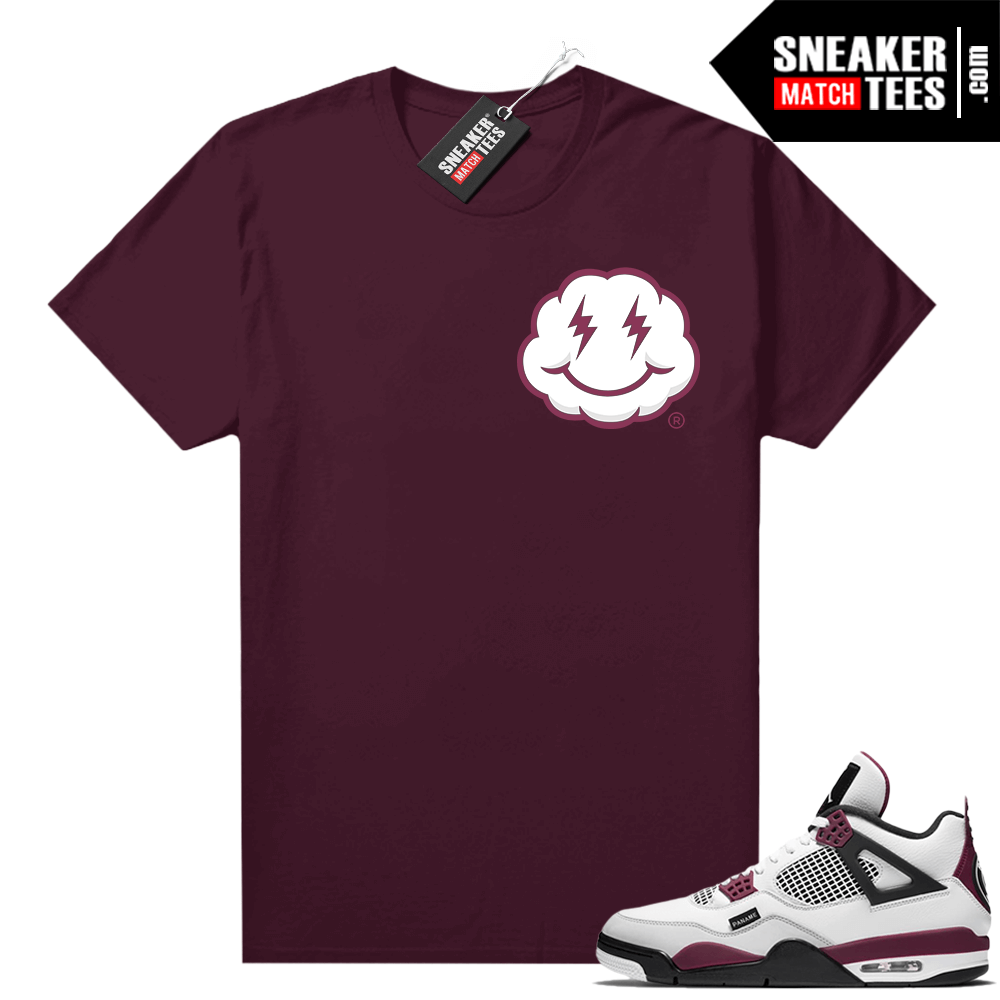 PSG 4s Sneaker Match Tees Smiley Cloud Maroon