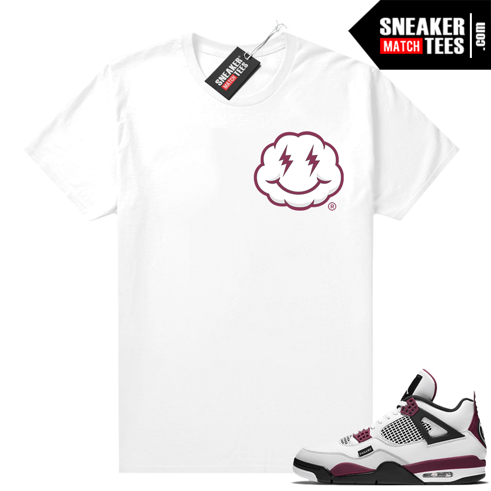 PSG 4s Sneaker Match Tees Smiley Cloud White