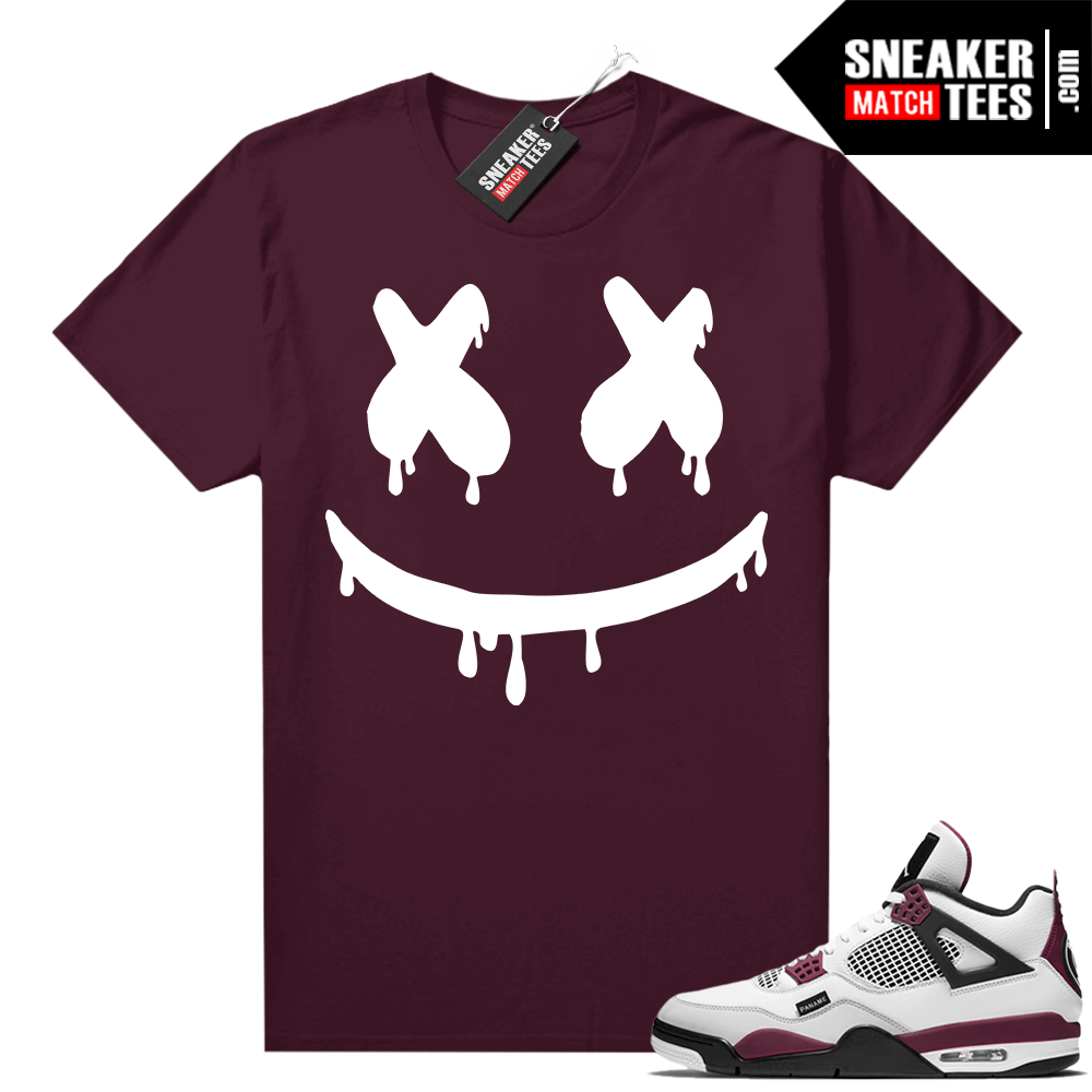PSG 4s Sneaker Match Tees Smiley Drip Maroon