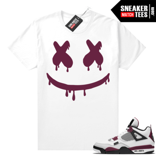 PSG 4s Sneaker Match Tees Smiley Drip White