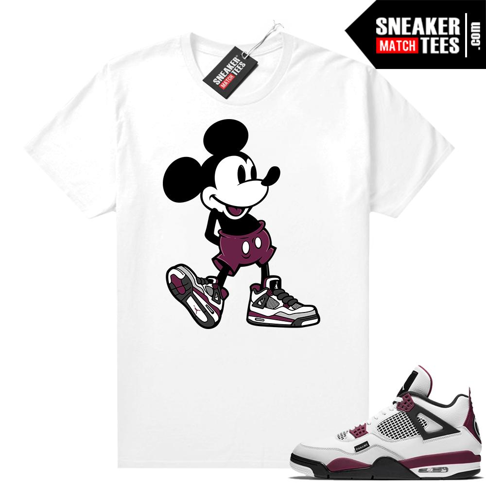 PSG 4s Sneaker Match Tees Sneakerhead Mickey White