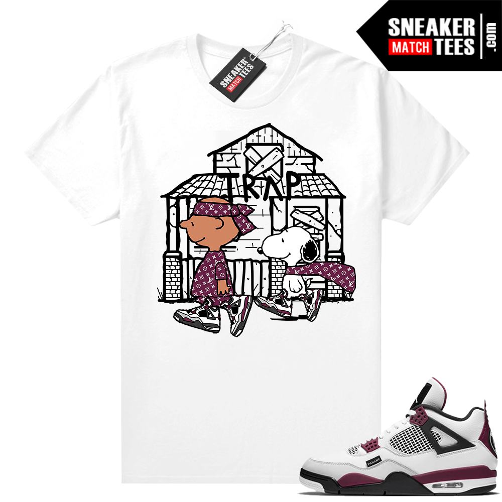 PSG 4s Sneaker Match Tees Snoopy Trap House White