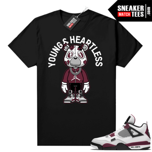 PSG 4s Sneaker Match Tees Young & Heartless Bear Toon Black