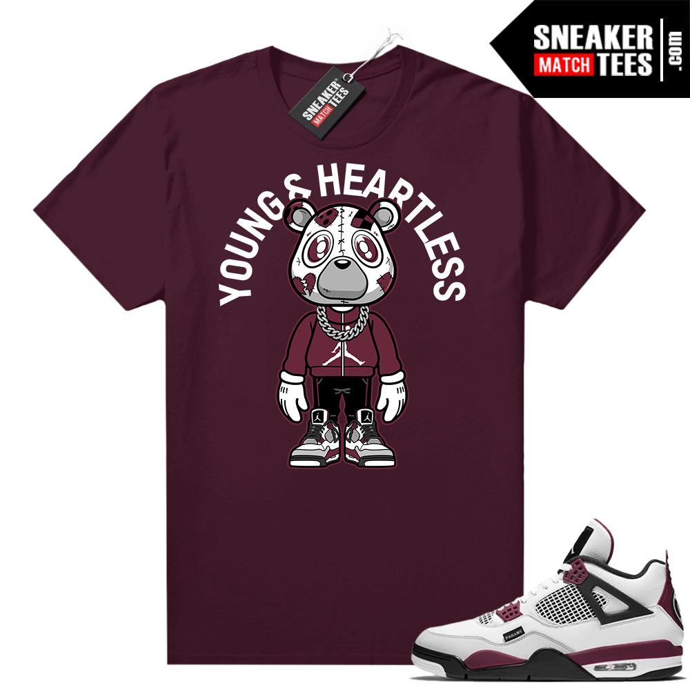 PSG 4s Sneaker Match Tees Young & Heartless Bear Toon Maroon