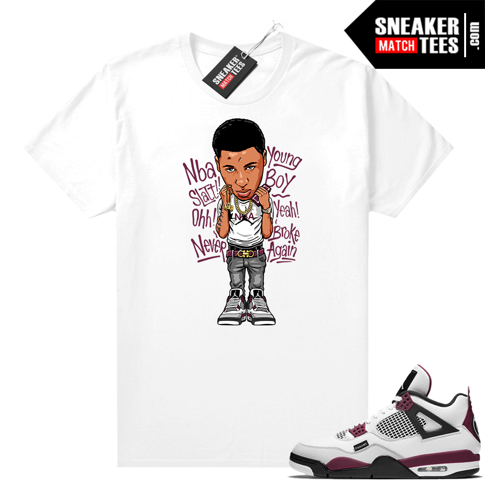 PSG 4s Sneaker Match Tees Youngboy NBA Toon White