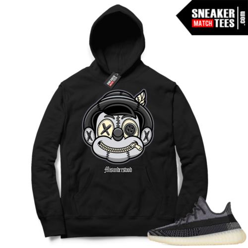 Match Yeezy 350 V2 Carbon Sneaker Match Hoodie Misunderstood Pinocchio Black