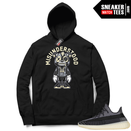 Match Yeezy 350 V2 Carbon Sneaker Match Hoodie Misunderstood Puppy Toon Black