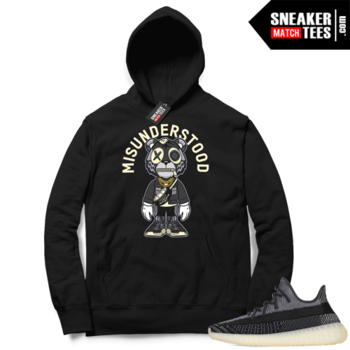 Match Yeezy 350 V2 Carbon Sneaker Match Hoodie Misunderstood Tiger Toon Black