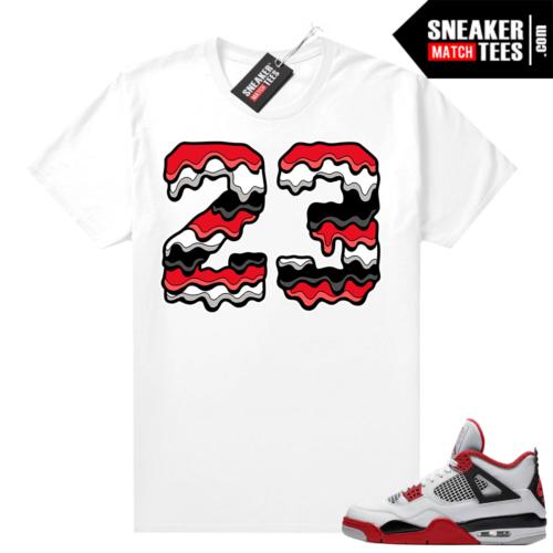 Fire Red 4s Jordan Sneaker Tees Shirts White 23 Drip