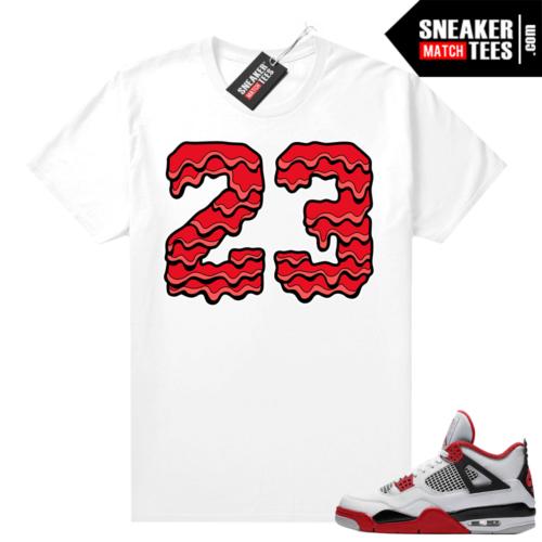 Fire Red 4s Jordan Sneaker Tees Shirts White 23 Drip V2