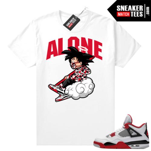 Fire Red 4s Jordan Sneaker Tees Shirts White ALONE