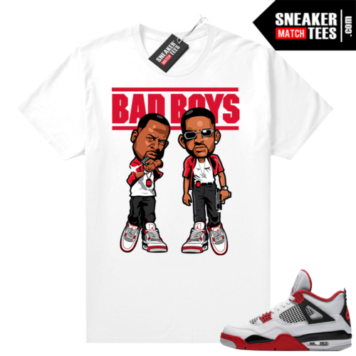 Fire Red 4s Jordan Sneaker Tees Shirts White Bad Boys