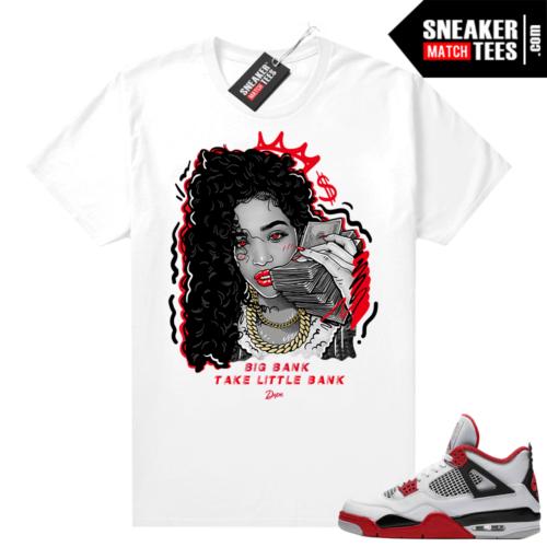 Fire Red 4s Jordan Sneaker Tees Shirts White Big Bank