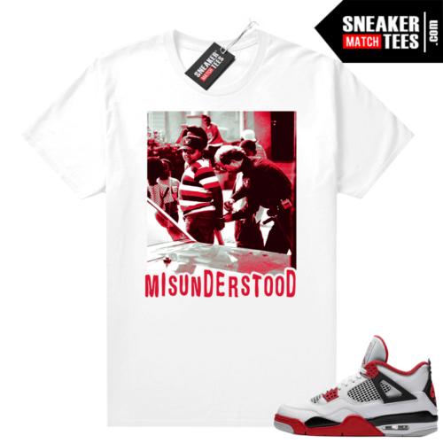 Fire Red 4s Jordan Sneaker Tees Shirts White Boyz in the Hood