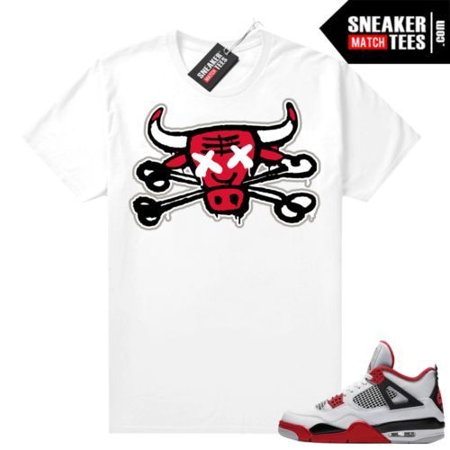 Fire Red 4s Jordan Sneaker Tees Shirts White Bully Bones