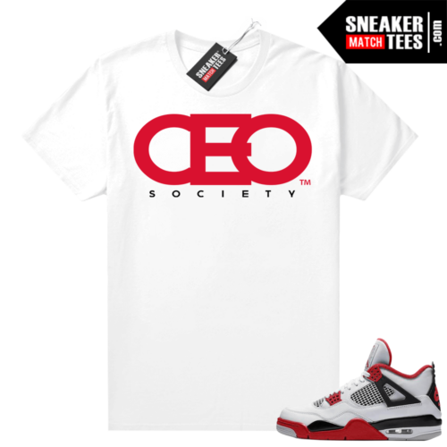 Fire Red 4s Jordan Sneaker Tees Shirts White CEO Society