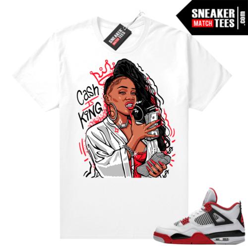 Fire Red 4s Jordan Sneaker Tees Shirts White Cash Is King