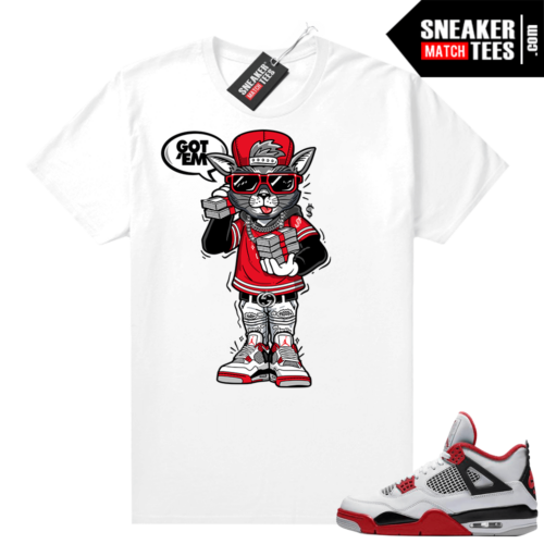 Fire Red 4s Jordan Sneaker Tees Shirts White Cat With The Stacks Got EM