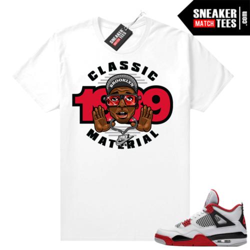 Fire Red 4s Jordan Sneaker Tees Shirts White Classic Material Mars