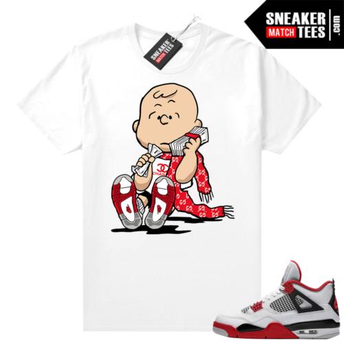 Fire Red 4s Jordan Sneaker Tees Shirts White Designer Charlie