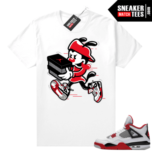 Fire Red 4s Jordan Sneaker Tees Shirts White Double Up
