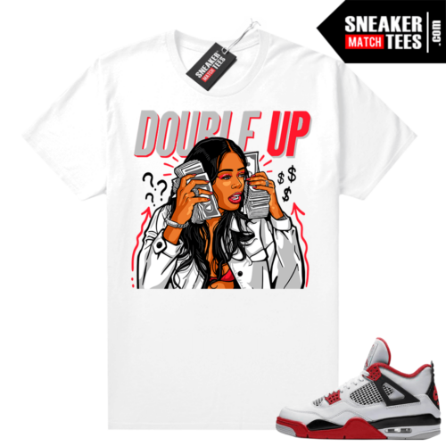 Fire Red 4s Jordan Sneaker Tees Shirts White Double up Gang