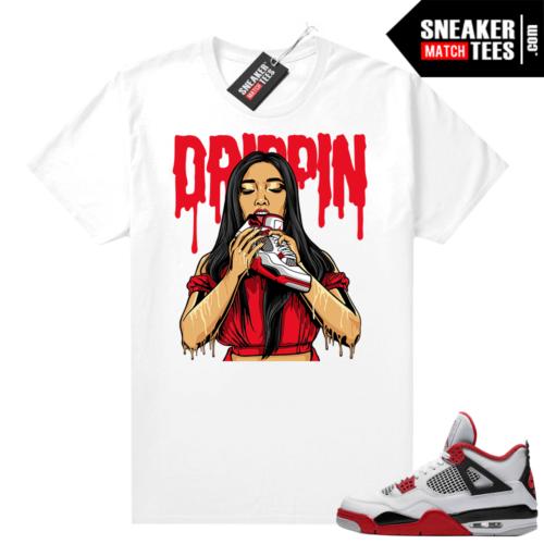 Fire Red 4s Jordan Sneaker Tees Shirts White Drippin 4s
