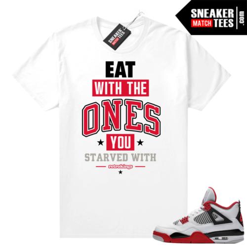 Fire Red 4s Jordan Sneaker Tees Shirts White EAT